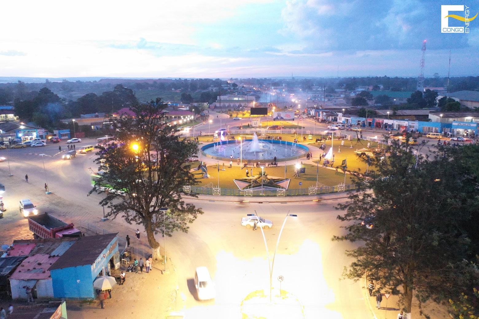 Eclairage rond point Malu, Kolwezi