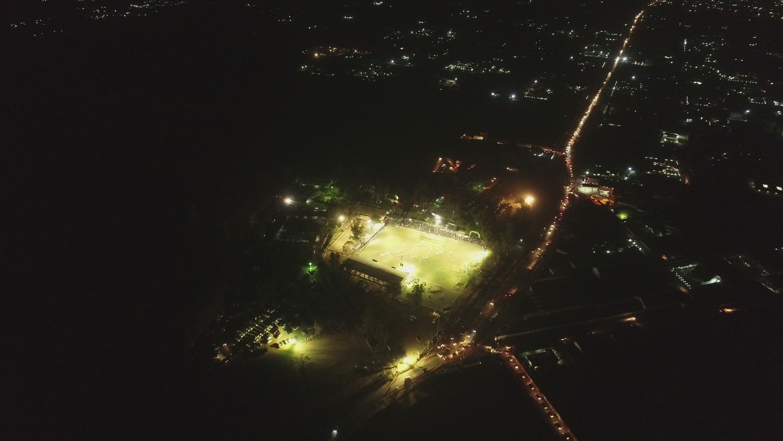 Aerial view of Horse Club's lighting in Lubumbashi, DR Congo