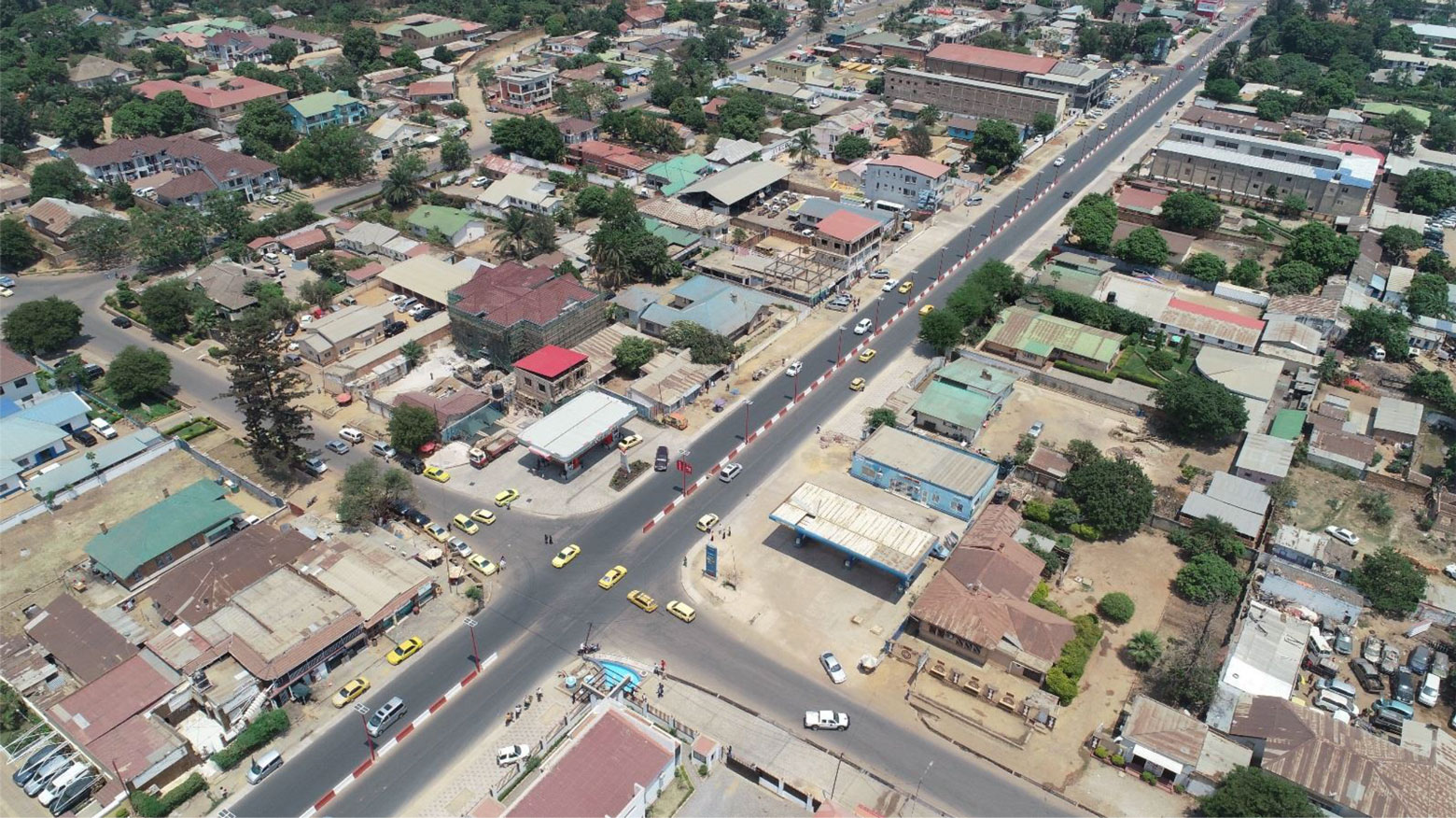 Aerial view of Kasavubu avenue in Lubumbashi, DRC.