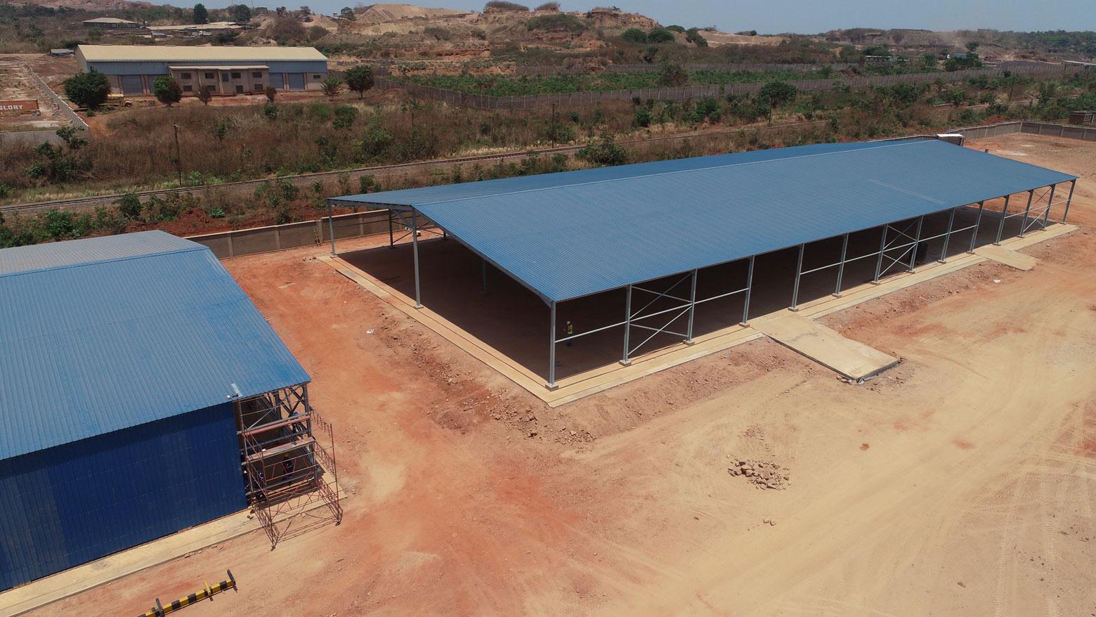 Hangars du centre logistique Cargo Congo à Lubumbashi